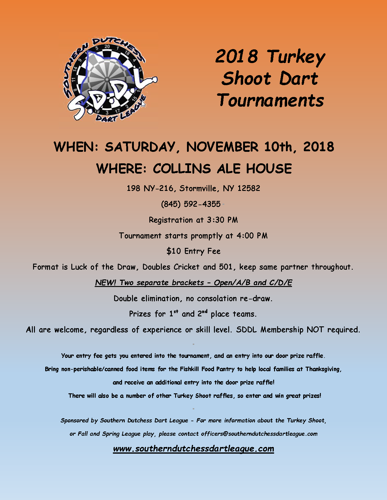 Southern Dutchess Dart League- Turkey Shoot 2018